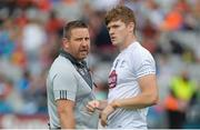 29 July 2017; Kildare manager Cian O'Neill with Kevin Feely before the GAA Football All-Ireland Senior Championship Round 4B match between Armagh and Kildare at Croke Park in Dublin. Photo by Piaras Ó Mídheach/Sportsfile