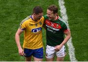 30 July 2017; Fintan Cregg of Roscommon and Andy Moran of Mayo following the GAA Football All-Ireland Senior Championship Quarter-Final match between Mayo and Roscommon at Croke Park in Dublin. Photo by Stephen McCarthy/Sportsfile