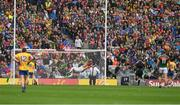 30 July 2017; The Mayo goalkeeper David Clarke fails to stop this shot, in the 9th minute, from Fintan Cregg of Roscommon for the opening goal of the GAA Football All-Ireland Senior Championship Quarter-Final match between Mayo and Roscommon at Croke Park in Dublin. Photo by Ray McManus/Sportsfile