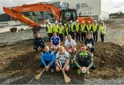 31 July 2017; The commencement of Phase Two of the Sport Ireland National Indoor Arena, which will comprise of covered synthetic pitch facilities, primarily designed for rugby, soccer and Gaelic games. This phase of the project will include the construction of an indoor pitch for soccer & Gaelic games, which can accommodate a number of sports, half sized indoor rugby pitch; and ancillary facilities including changing & player rooms, offices and meeting rooms. Construction of Phase Two is expected to take two years to complete. Pictured are, from left to right, Scott Walker, Director of Devlopment, IRFU, FAI Chief Executive John Delaney, Kieran Mulvey, Chairman, Sport Ireland, Mayor of Fingal Mary McCamley, Minister of State at the Department of Transport, Tourism and Sport Brendan Griffin, T.D., An Taoiseach Leo Varadkar, Minister for Transport, Tourism and Sport, Shane Ross T.D, John Treacy, CEO, Sport Ireland, Ard Stiúrthóir of the GAA Páraic Duffy and Ard Stiúrthóir Camogie Joan O'Flynn. Front row, from left, Ireland soccer international Leanne Kiernan, Dublin hurler David O'Callaghan, Cavan ladies footballer Aisling Doonan, Kildare camogie player Emer Reilly, Ireland soccer international Roma McLaughlin, Meath camogie player Emily Mangan and Meath footballer Conor McGill. Photo by Ramsey Cardy/Sportsfile