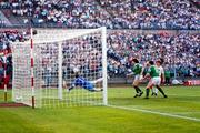 15 June 1988; Ray Houghton of Republic of Ireland, supported by team-mate John Aldridge, has an attempt on goal during the UEFA European Football Championship Finals Group B match between Republic of Ireland and USSR at the Niedersachen Stadium in Hanover, Germany. Photo by Ray McManus/Sportsfile