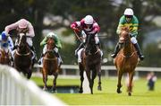 1 August 2017; Eventual winner Housesofparliament, right, with Barry Geraghty up, race ahead of Morgan, centre, with Keith Donoghue up, who finished second, and Law Girl, with Ruby Walsh up, who finished third, on their way to winning the Colm Quinn BMW Novice Hurdle during the Galway Races Summer Festival 2017 at Ballybrit, in Galway. Photo by Cody Glenn/Sportsfile