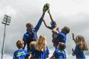 2 August 2017; Devin Toner, left, and Josh Van der Flier of Leinster pictured with kids Tom Clarke, Benjamin Brogan, Antonio Nicolletti and Elaine Hickey during a Bank of Ireland Leinster Rugby Summer Camp at Donnybrook Stadium in Donnybrook, Dublin. Photo by David Fitzgerald/Sportsfile