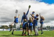 2 August 2017; Devin Toner, left, and Josh Van der Flier of Leinster pictured with kids Tom Clarke, Benjamin Brogan, Antonio Nicolletti, Elaine Hickey and Sophie O'Connor during a Bank of Ireland Leinster Rugby Summer Camp at Donnybrook Stadium in Donnybrook, Dublin. Photo by David Fitzgerald/Sportsfile