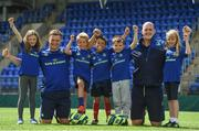 2 August 2017; Josh Van der Flier and Devin Toner of Leinster pictured with kids Tom Clarke, Benjamin Brogan, Antonio Nicolletti, Elaine Hickey and Sophie O'Connor during a Bank of Ireland Leinster Rugby Summer Camp at Donnybrook Stadium in Donnybrook, Dublin. Photo by David Fitzgerald/Sportsfile