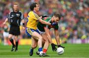 30 July 2017; Aidan O'Shea of Mayo is tackled by Niall Kilroy  of Roscommon during the GAA Football All-Ireland Senior Championship Quarter-Final match between Mayo and Roscommon at Croke Park in Dublin. Photo by Ramsey Cardy/Sportsfile