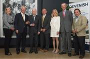 4 August 2017; The Association of Sports Journalists in Ireland hosted a luncheon to celebrate the start of Ireland's three-in-a- row Aga Khan Cup wins in 1977. Pictured at the event were, from left, Jane Darragh, standing in for her late husband Paul, Eddie Macken, former chef d'equipe Col. Bill Ringrose, James Kernan, Louise Daly, daughter of chef d'equipe Sean Daly, Capt. Con Power and David Darragh at the Croke Park Hotel, Jone's Road, Dublin. Photo by Sam Barnes/Sportsfile