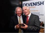 4 August 2017; The Association of Sports Journalists in Ireland hosted a luncheon to celebrate the start of Ireland's three-in-a- row Aga Khan Cup wins in 1977. Pictured at the event is Eddie Macken being presented with his medal by ASJI President Peter Byrne, at the Croke Park Hotel, Jone's Road, Dublin. Photo by Sam Barnes/Sportsfile