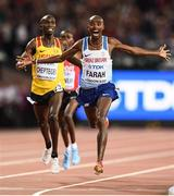 4 August 2017; Mo Farah of Great Britain celebrates winning the final of the Men's 10,000m event during day one of the 16th IAAF World Athletics Championships at the London Stadium in London, England. Photo by Stephen McCarthy/Sportsfile