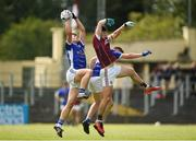 5 August 2017; James Smith of Cavan, left, catches a high ball ahead of team-mate Ruairi Curran and Evan Murphy of Galway during the Electric Ireland All-Ireland GAA Football Minor Championship Quarter-Final match between Cavan and Galway at Páirc Seán Mac Diarmada in Carrick-on-Shannon, Leitrim. Photo by Barry Cregg/Sportsfile