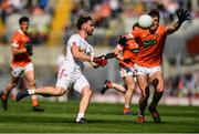 5 August 2017; Pádraig Hampsey of Tyrone in action against Niall Grimley of Armagh during the GAA Football All-Ireland Senior Championship Quarter-Final match between Tyrone and Armagh at Croke Park in Dublin. Photo by Ramsey Cardy/Sportsfile