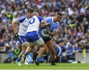5 August 2017; James McCarthy of Dublin in action against Gavin Doogan, 10, and Darren Hughes of Monaghan during the GAA Football All-Ireland Senior Championship Quarter-Final match between Dublin and Monaghan at Croke Park in Dublin. Photo by Ray McManus/Sportsfile