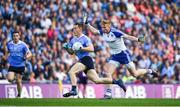 5 August 2017; Con O'Callaghan of Dublin in action against Kieran Hughes of Monaghan during the GAA Football All-Ireland Senior Championship Quarter-Final match between Dublin and Monaghan at Croke Park in Dublin. Photo by Daire Brennan/Sportsfile