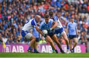 5 August 2017; James McCarthy of Dublin in action against Gavin Doogan, left, and Darren Hughes of Monaghan during the GAA Football All-Ireland Senior Championship Quarter-Final match between Dublin and Monaghan at Croke Park in Dublin. Photo by Daire Brennan/Sportsfile