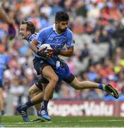 5 August 2017; Cian O'Sullivan of Dublin is tackled by Jack McCarron of Monaghan during the GAA Football All-Ireland Senior Championship Quarter-Final match between Dublin and Monaghan at Croke Park in Dublin. Photo by Ramsey Cardy/Sportsfile