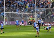 5 August 2017; Dublin goalkeeper and captain Stephen Cluxton makes a save from Monaghan's Jack McCarron shot, in the 47th minute, during the GAA Football All-Ireland Senior Championship Quarter-Final match between Dublin and Monaghan at Croke Park in Dublin. Photo by Ray McManus/Sportsfile