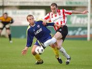 1 August 2002; Sean Hargan, Derry City, in action against Longford Town's Ger Robinson. Derry City v Longford Town, eircom League Premier Division, Brandwell, Derry. Soccer. Picture credit; David Maher / SPORTSFILE *EDI*
