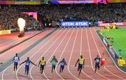 5 August 2017; (L-R) Reece Prescod of Great Britain, Justin Gatlin of the United States, (Winner) Yohan Blake of Jamaica, Akani Simbine of South Africa, Christian Coleman of the United States, Usain Bolt of Jamaica, Jimmy Vicaut of France and Bingtian Su of China after crossing the finish line in the final of the Men's 100m event during day two of the 16th IAAF World Athletics Championships at the London Stadium in London, England. Photo by Stephen McCarthy/Sportsfile