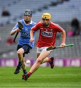 6 July 2017; Luke McDwyer of Dublin in action against Ronan Sheehan of Cork during the All-Ireland U17 Hurling Championship Final match between Dublin and Cork at Croke Park in Dublin. Photo by Ray McManus/Sportsfile