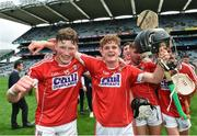 6 July 2017; Cork's Colin O'Brien, left, and Daire Connery celebrate following the All Ireland U17 Hurling Championship Final match between Dublin and Cork at Croke Park in Dublin. Photo by Ramsey Cardy/Sportsfile