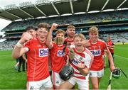 6 July 2017; Cork players, from left, Colin O'Brien, Daire Connery, Declan Hanlon, Luke Donovan and Aaron Walsh Barry celebrate following the All Ireland U17 Hurling Championship Final match between Dublin and Cork at Croke Park in Dublin. Photo by Ramsey Cardy/Sportsfile