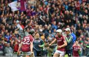 6 August 2017; Galway's Jack Canning, centre, and Enda Fahy of Galway celebrate following the Electric Ireland GAA Hurling All-Ireland Minor Championship Semi-Final match between Kilkenny and Galway at Croke Park in Dublin. Photo by Ramsey Cardy/Sportsfile