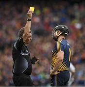 6 August 2017; Tipperary goalkeeper Darren Gleeson is shown a yellow card by referee Barry Kelly during the GAA Hurling All-Ireland Senior Championship Semi-Final match between Galway and Tipperary at Croke Park in Dublin. Photo by Ray McManus/Sportsfile