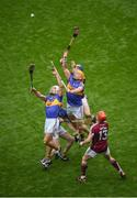 6 August 2017; Tipperary players, left to right, Ronan Maher, Michael Cahill, and Pádraic Maher in action against Niall Burke, left, and Conor Whelan of Galway during the GAA Hurling All-Ireland Senior Championship Semi-Final match between Galway and Tipperary at Croke Park in Dublin. Photo by Daire Brennan/Sportsfile