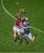 6 August 2017; Adrian Tuohey of Galway in action against Séamus Callanan, left, and John McGrath of Tipperary during the GAA Hurling All-Ireland Senior Championship Semi-Final match between Galway and Tipperary at Croke Park in Dublin. Photo by Daire Brennan/Sportsfile