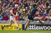 6 August 2017; Joe Canning of Galway shoots past the Tipperary goalkeeper Darren Gleeson and wide during the GAA Hurling All-Ireland Senior Championship Semi-Final match between Galway and Tipperary at Croke Park in Dublin. Photo by Ray McManus/Sportsfile