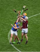 6 August 2017; John O'Dwyer, and Séamus Callanan of Tipperary in action against Daithí Burke, left, and John Hanbury of Galway during the GAA Hurling All-Ireland Senior Championship Semi-Final match between Galway and Tipperary at Croke Park in Dublin. Photo by Daire Brennan/Sportsfile