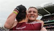 6 August 2017; Galway's Conor Whelan, behind, and Daithí Burke celebrate after the GAA Hurling All-Ireland Senior Championship Semi-Final match between Galway and Tipperary at Croke Park in Dublin. Photo by Piaras Ó Mídheach/Sportsfile