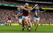 6 August 2017; Jason Flynn of Galway is tackled by Pádraic Maher of Tipperary, supported by team-mate Brendan Maher, right, and Donagh Maher during the GAA Hurling All-Ireland Senior Championship Semi-Final match between Galway and Tipperary at Croke Park in Dublin. Photo by Piaras Ó Mídheach/Sportsfile