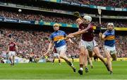 6 August 2017; Jason Flynn of Galway shoots under pressure from Tipperary's, from left, Donagh Maher, Pádraic Maher and Brendan Maher during the GAA Hurling All-Ireland Senior Championship Semi-Final match between Galway and Tipperary at Croke Park in Dublin. Photo by Piaras Ó Mídheach/Sportsfile