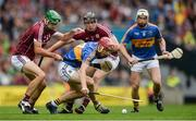 6 August 2017; Sean Curran of Tipperary, supported by Brendan Maher, in action against David Burke, left, and Joseph Cooney of Galway during the GAA Hurling All-Ireland Senior Championship Semi-Final match between Galway and Tipperary at Croke Park in Dublin. Photo by Piaras Ó Mídheach/Sportsfile