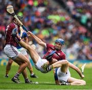 6 August 2017; Johnny Coen of Galway falls as he Aidan Harte and Brendan Maher of Tipperary are the centre of the action during the GAA Hurling All-Ireland Senior Championship Semi-Final match between Galway and Tipperary at Croke Park in Dublin. Photo by Ray McManus/Sportsfile