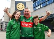 7 August 2017; Mayo supporters Niamh, Michael and Sean Rabbette, from Westport, before the GAA Football All-Ireland Senior Championship Quarter-Final Replay match between Mayo v Roscommon at Croke Park, in Dublin. Photo by Ray McManus/Sportsfile
