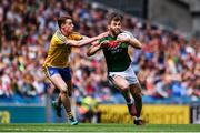 7 August 2017; Seamus O'Shea of Mayo is tackled by Niall McInerney of Roscommon during the GAA Football All-Ireland Senior Championship Quarter Final replay match between Mayo and Roscommon at Croke Park in Dublin. Photo by Ramsey Cardy/Sportsfile