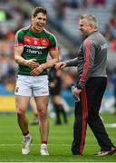 7 August 2017; Lee Keegan of Mayo with manager Stephen Rochford ahead of the GAA Football All-Ireland Senior Championship Quarter-Final Replay match between Mayo v Roscommon at Croke Park, in Dublin. Photo by Daire Brennan/Sportsfile