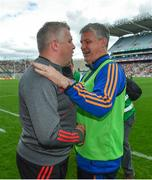 7 August 2017; Mayo manager Stephen Rochford shakes hands with Roscommon manager Kevin McStay following the GAA Football All-Ireland Senior Championship Quarter Final replay match between Mayo and Roscommon at Croke Park in Dublin. Photo by Ramsey Cardy/Sportsfile