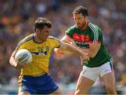 7 August 2017; Diarmuid Murtagh of Roscommon in action against Chris Barrett of Mayo during the GAA Football All-Ireland Senior Championship Quarter-Final Replay match between Mayo v Roscommon at Croke Park, in Dublin. Photo by Ray McManus/Sportsfile