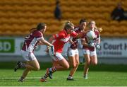 7 August 2017; Saoirse Noonan of Cork in action against Bronagh Quinn of Galway during the All Ireland Ladies Football Minor A Championship Final match between Cork v Galway at Bord Na Mona O'Connor Park, in Tullamore, Co. Offaly. Photo by Eóin Noonan/Sportsfile