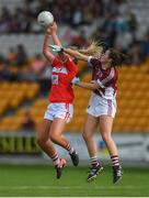 7 August 2017; Saoirse Noonan of Cork in action against Kate Screene of Galway during the All Ireland Ladies Football Minor A Championship Final match between Cork v Galway at Bord Na Mona O'Connor Park, in Tullamore, Co. Offaly. Photo by Eóin Noonan/Sportsfile