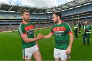 7 August 2017; Seamus O'Shea of Mayo shakes hands with Kevin McLoughlin, right, following the GAA Football All-Ireland Senior Championship Quarter Final replay match between Mayo and Roscommon at Croke Park in Dublin. Photo by Ramsey Cardy/Sportsfile