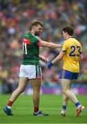 7 August 2017; Aidan O'Shea of Mayo has words with Gary Patterson of Roscommon during the GAA Football All-Ireland Senior Championship Quarter-Final Replay match between Mayo v Roscommon at Croke Park, in Dublin. Photo by Daire Brennan/Sportsfile