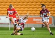 7 August 2017; Saoirse Noonan of Cork scoring her side's third goal during the All Ireland Ladies Football Minor A Championship Final match between Cork v Galway at Bord Na Mona O'Connor Park, in Tullamore, Co. Offaly. Photo by Eóin Noonan/Sportsfile