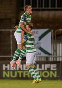 7 August 2017; Michael O'Connor of Shamrock Rovers celebrates a goal by team-mate James Doona in extra-time with Simon Madden, right, during the EA Sports Cup semi-final match between Shamrock Rovers and Cork City at Tallaght Stadium, in Dublin.  Photo by Piaras Ó Mídheach/Sportsfile