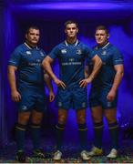 8 August 2017; Leinster players, from left, Jack McGrath, with Jonathan Sexton and Tadhg Furlong as Canterbury has revealed the new Leinster home jersey for the 2017/18 season which is now available for purchase from Canterbury.com and sports retailers countrywide. The new kit marks a return to a classic Leinster blue with a contemporary and functional twist. Photo by Ramsey Cardy/Sportsfile