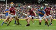 6 August 2017; John Hanbury of Galway in action against John O'Dwyer of Tipperary during the GAA Hurling All-Ireland Senior Championship Semi-Final match between Galway and Tipperary at Croke Park in Dublin. Photo by Piaras Ó Mídheach/Sportsfile