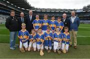6 August 2017; President of Cumann na mBunscol Liam McGee, Uachtarán Tofa Chumann Lúthchleas Gael John Horan, Mini-Sevens Coordinator Gerry O'Meara, President of the INTO John Boyle, with the Tipperary team, back row, left to right, Diarmuid Donnellan, Ballinamoney National School, Bailieborough, Cavan, Harry Codd, Rathnure NS, Enniscorthy, Wexford, Michael Sheridan, Corballa NS, Sligo, Eddie Ó Cochlán, Scoil na nÓg, Gleannn Maghair, Cork, front row, left to right, Donagh  Cooney, Ballygunner  NS, Waterford, James O'Dwyer, Gaile NS, Holycross, Tipperary, Orrin O'Connor, St Patrick's Primary School, Glenariff, Antrim, Nathan Horsfield, St Patrick's PS, Roan, Eglish, Dungannon, Tyrone, Liam Óg Coyle, Tisrara NS, Four Roads, Roscommon, and Michael Burns, St Columban's PS, Belcoo, Fermanagh ahead of the INTO Cumann na mBunscol GAA Respect Exhibition Go Games at Galway v Tipperary - GAA Hurling All-Ireland Senior Championship Semi-Final at Croke Park in Dublin. Photo by Daire Brennan/Sportsfile